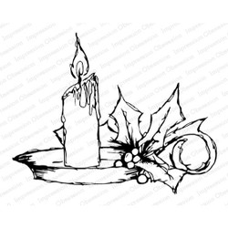 Holly Candle, Impression Obsession Cling Stamps - 845638025700