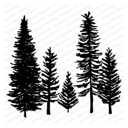 Forest Trees, Impression Obsession Cling Stamps - 845638025939