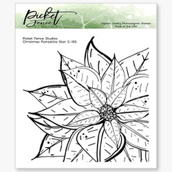 Christmas Poinsettia Star, Picket Fence Studios Clear Stamps - 745558000781