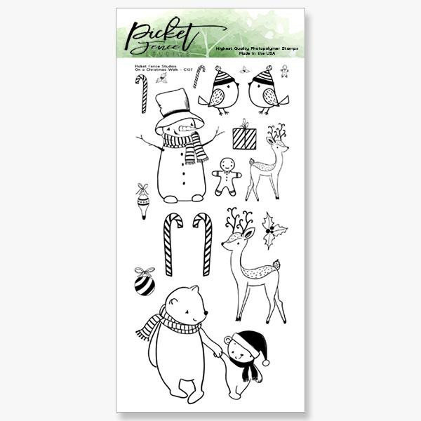 On A Christmas Walk, Picket Fence Studios Clear Stamps - 745558000927