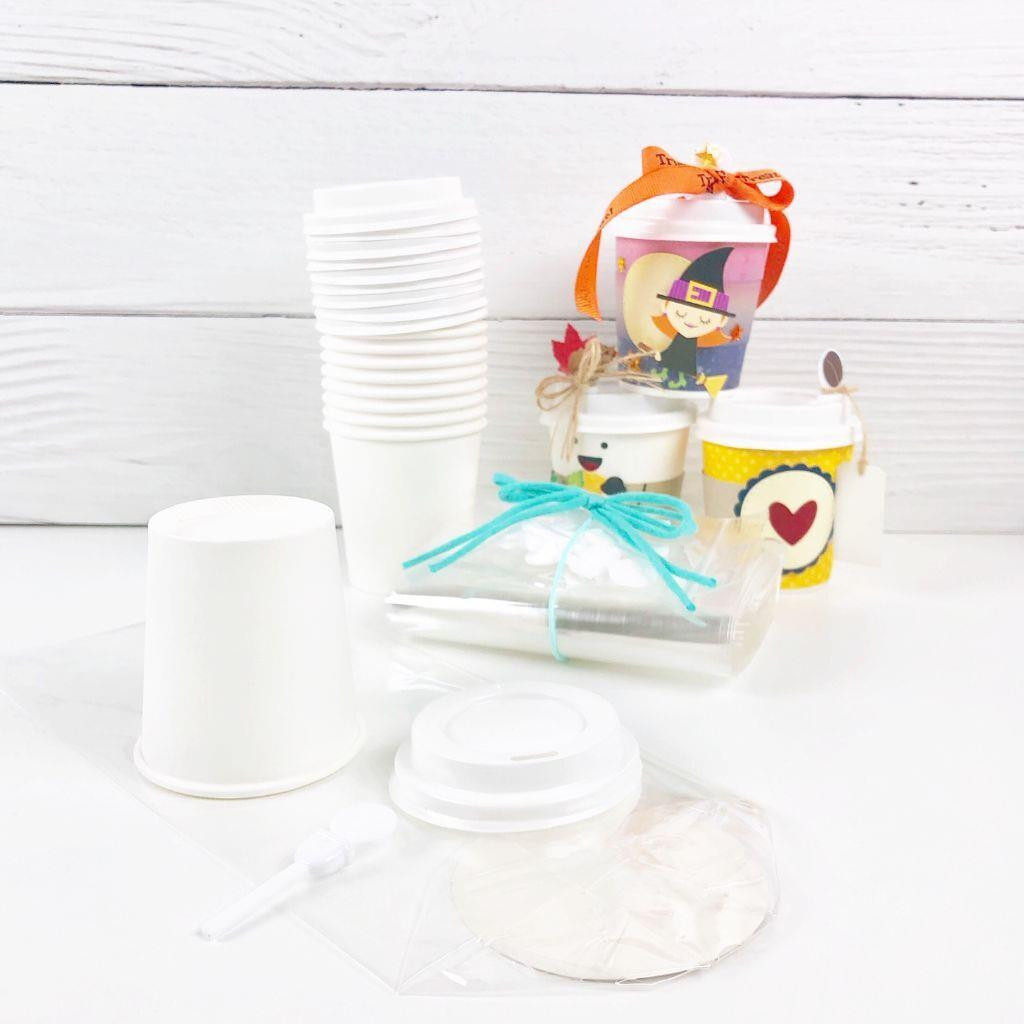 Mini Coffee Cups, Lids, Stoppers, and Gift Bags, Trinity Stamps -