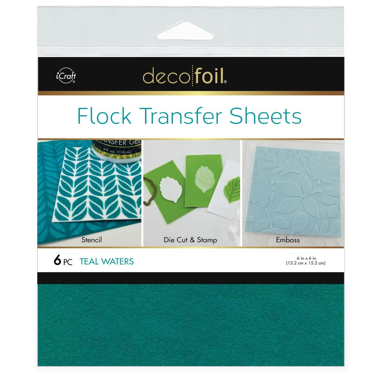 Teal Waters, Deco Foil Flock Transfer Sheets - 943055617