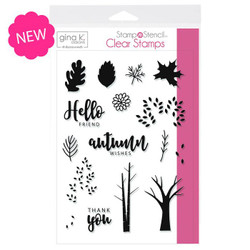 Autumn Wishes, Gina K Designs StampnStencil Clear Stamps - 943181453