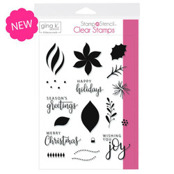 Wishing You Joy, Gina K Designs StampnStencil Clear Stamps - 943181460