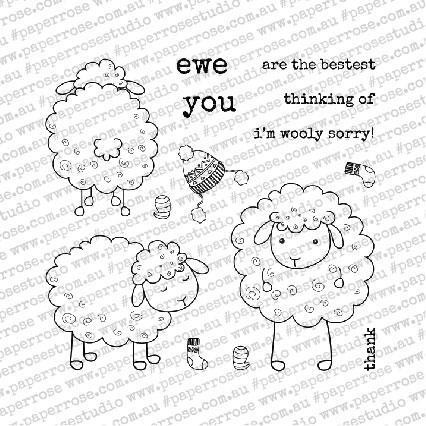 Wooly Sorry, Paper Rose Clear Stamps - 784927549582