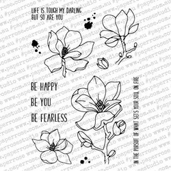 Lovely Florals Magnolia, Paper Rose Clear Stamps - 784927548592
