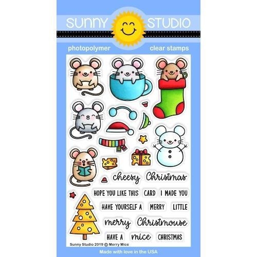 Merry Mice, Sunny Studios Clear Stamps - 797648687587