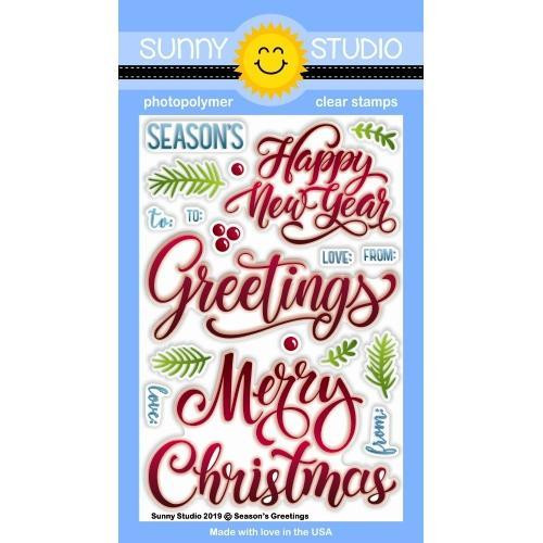 Season's Greetings, Sunny Studios Clear Stamps - 797648687556