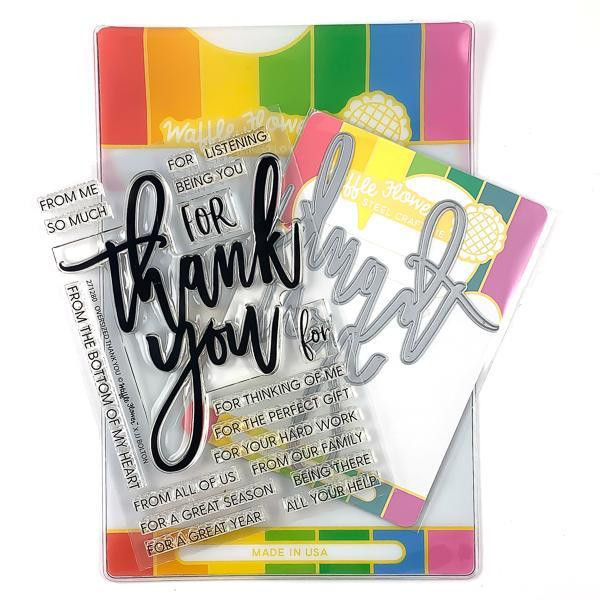 Oversized Thank You, Waffle Flower Stamp & Die Combo - 644216566822