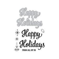 Happy Holidays Script, Hero Arts Stamp & Cut - 085700924405