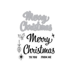 Merry Christmas Script, Hero Arts Stamp & Cut - 085700924412