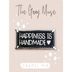 Happiness is Handmade (Black), The Gray Muse Enamel Pins -