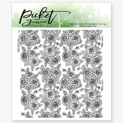 Miniature Dahlia Bouquet, Picket Fence Studios Clear Stamps - 745557999925