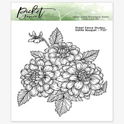 Dahlia Bouquet, Picket Fence Studios Clear Stamps (Retiring) -