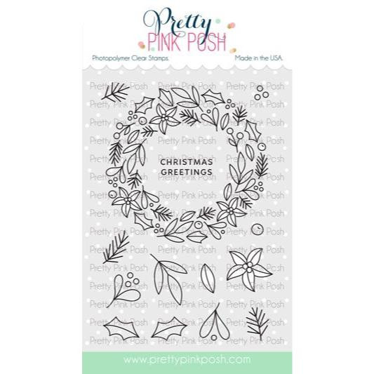 Winter Wreath, Pretty Pink Posh Clear Stamps -