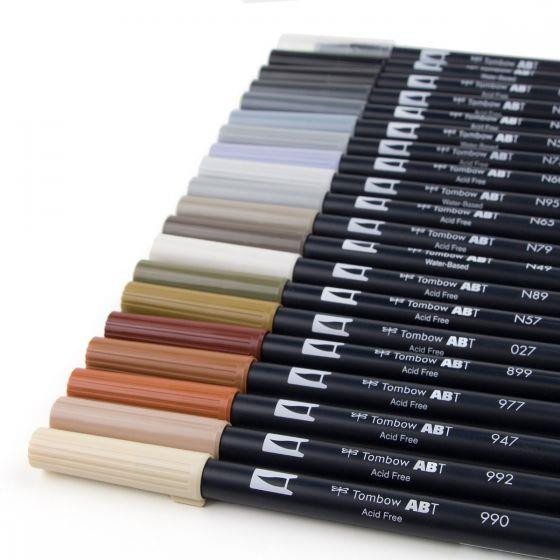 Neutral Palette Set of 20, Tombow Dual Brush Pens - 085014561945