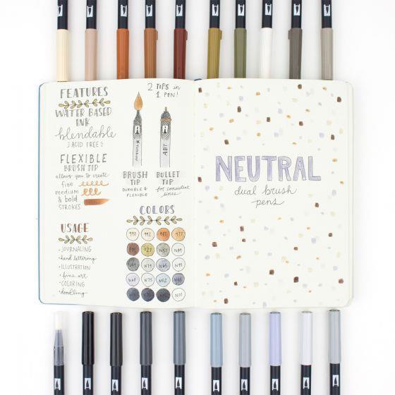 Neutral Palette Set of 20, Tombow Dual Brush Pens - 085014561945