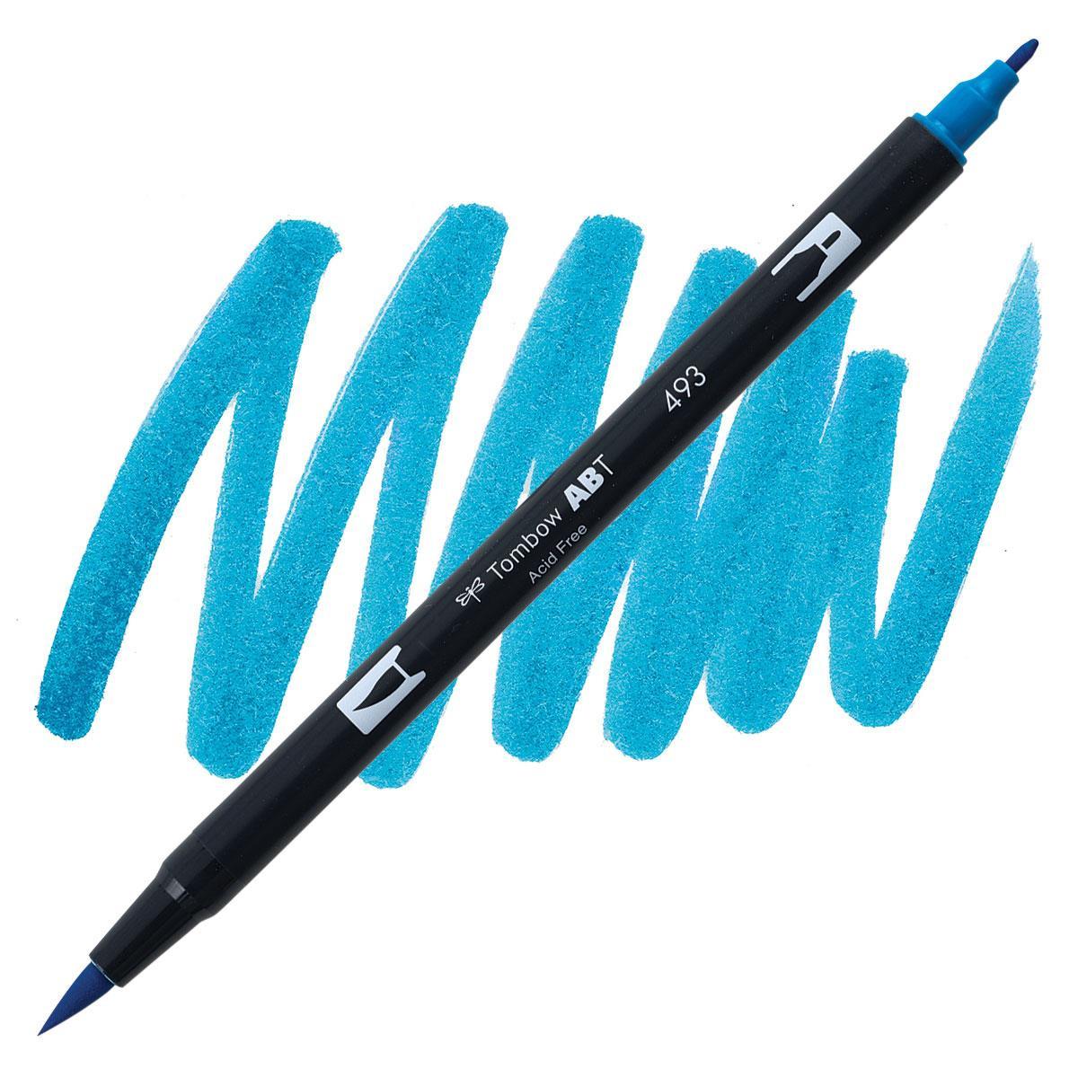 Reflex Blue (493), Tombow Dual Brush Pens - 085014565554