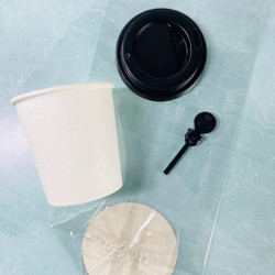 Mini Coffee Cups, Black Lids, Black Stoppers, and Gift Bags, Trinity Stamps -