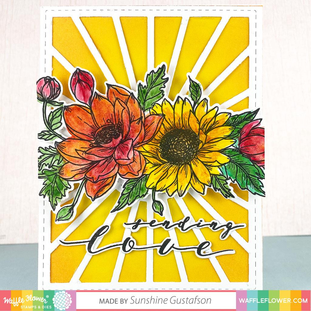 Sunflower Love, Waffle Flower Stamp & Die Combo - 644216567522