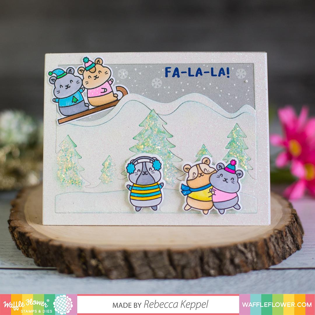 Winter Hamsters, Waffle Flower Clear Stamps - 644216567928