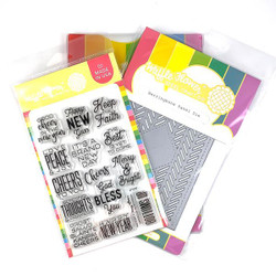 Herringbone Sentiments and Panel, Waffle Flower Stamp & Die Combo - 644216569120