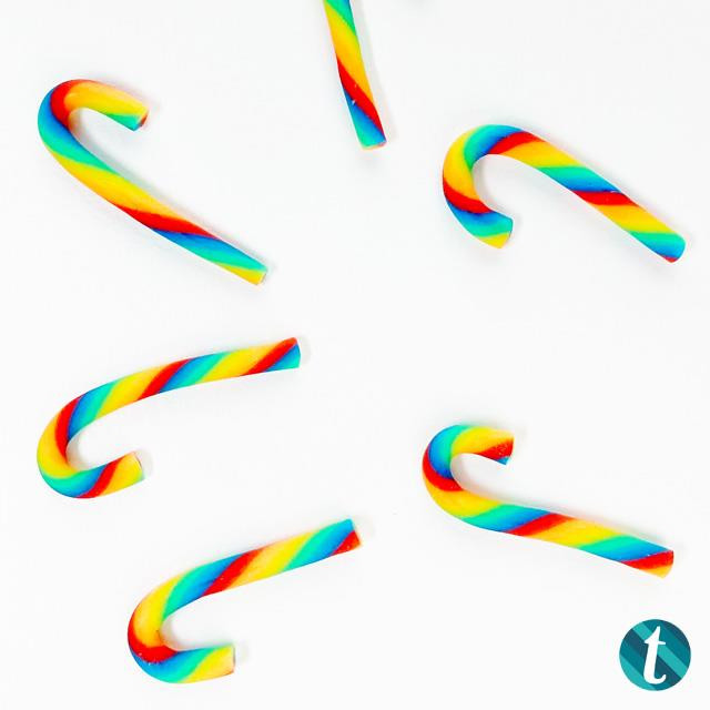 Rainbow Twist Candy Canes, Trinity Stamps Embellishments -