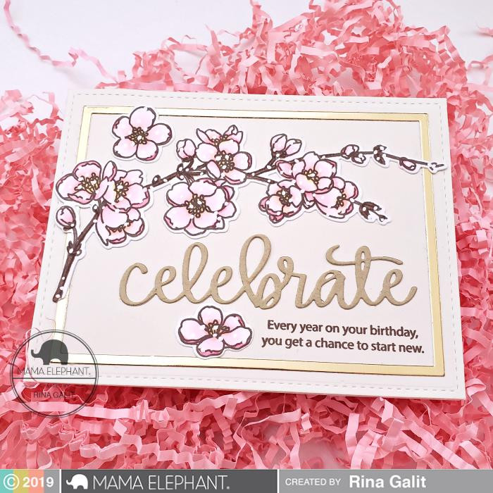 Cherry Blossom Branch, Mama Elephant Clear Stamps -