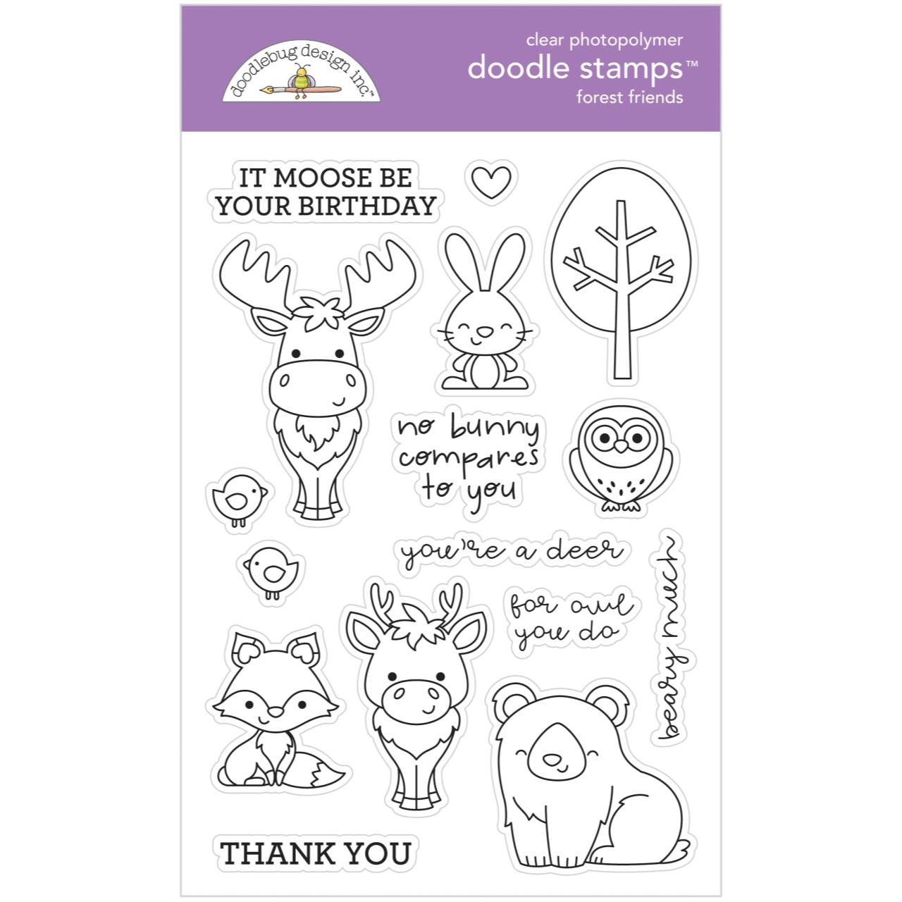 4X6 Pinkfresh Studio Forest Friends Clear Stamp Set