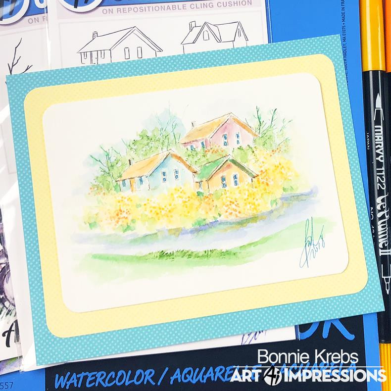 Watercolor Mini Cottages, Art Impressions Cling Stamps - 750810793691