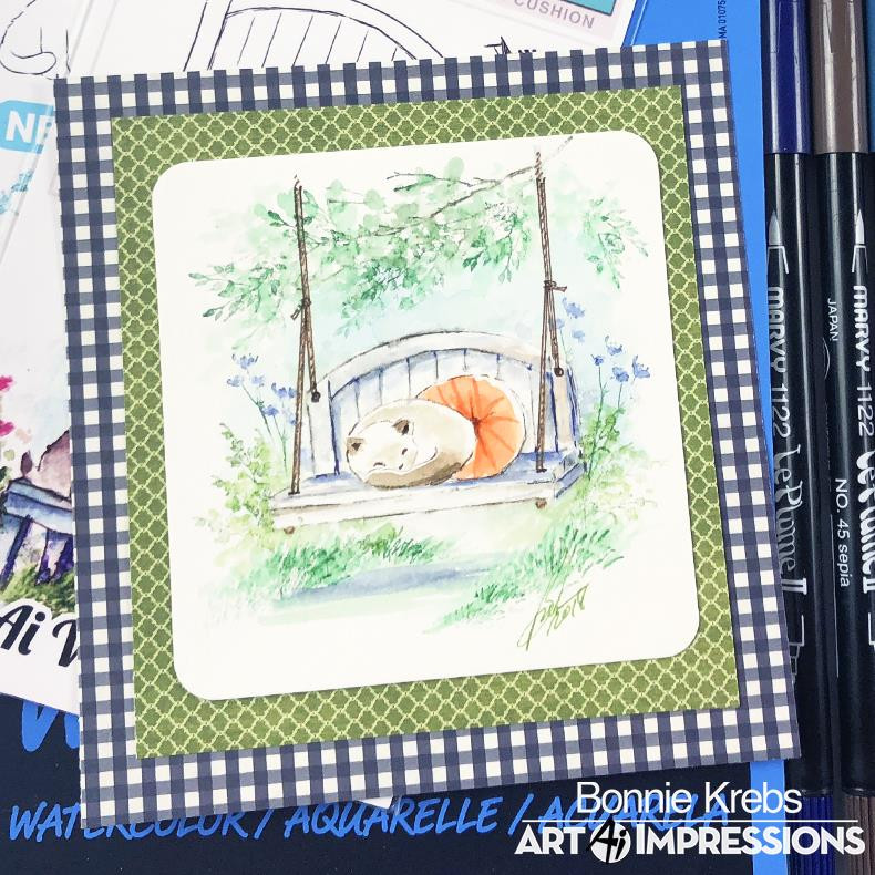 Watercolor Bench, Art Impressions Cling Stamps - 750810793738