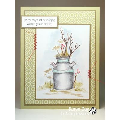 Watercolor Clay Pot, Art Impressions Cling Stamps - 608729391012