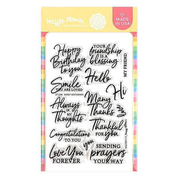 Sweet Sentiments, Waffle Flower Clear Stamps - 644216569823