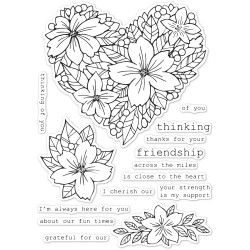 Friendship Floral Heart, Memory Box Clear Stamps - 873980452509