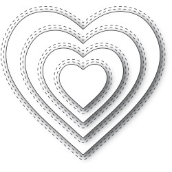 Double Stitch Loving Heart Cut Out, Memory Box Dies - 873980943595