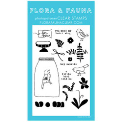 Aviary Flower Terrarium, Flora & Fauna Clear Stamps - 703791390328