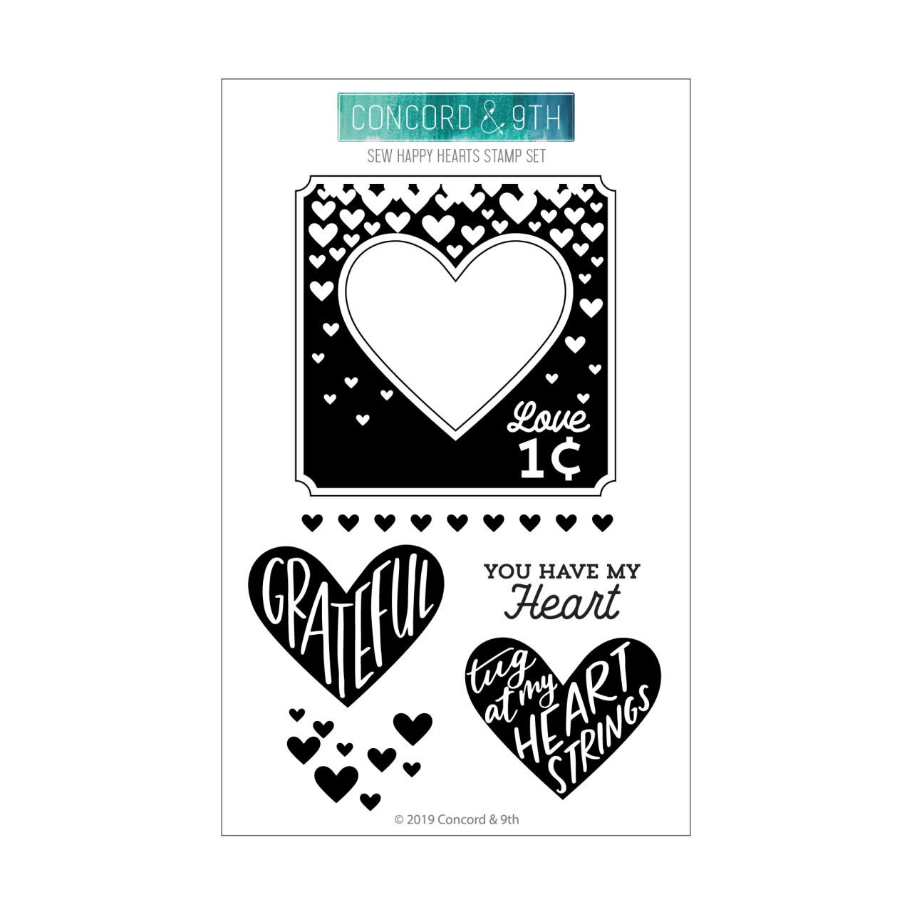 Sew Happy Hearts, Concord & 9th Clear Stamps - 090222401235