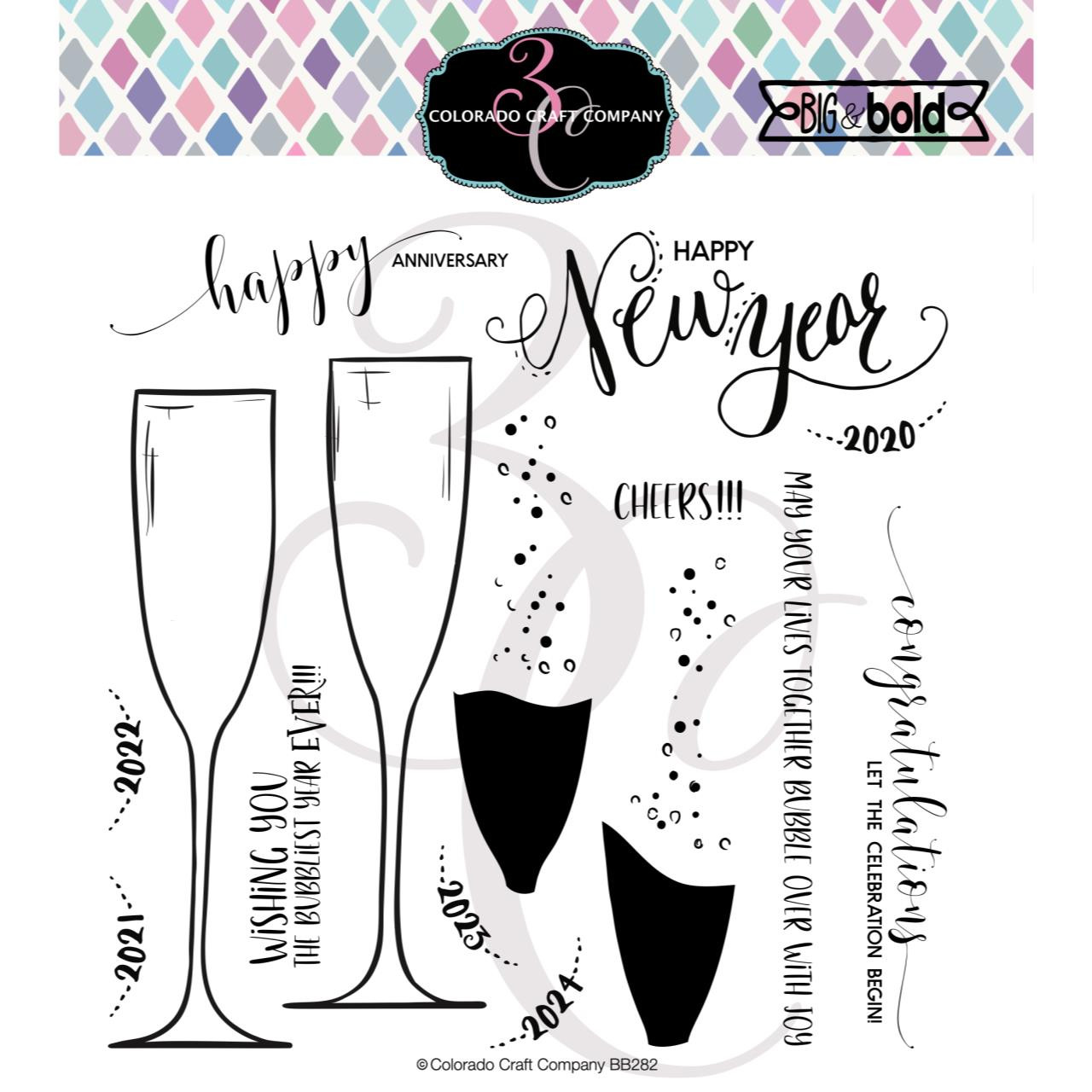 Champagne Celebrations, Colorado Craft Company Clear Stamps - 857287008829