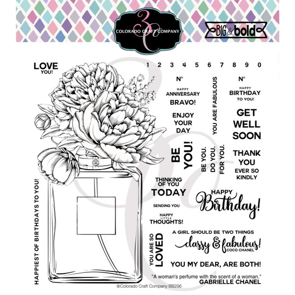 Perfume Bouquet, Colorado Craft Company Clear Stamps -