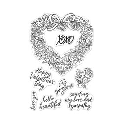 Floral Heart Wreath, Hero Arts Clear Stamps - 085700926041