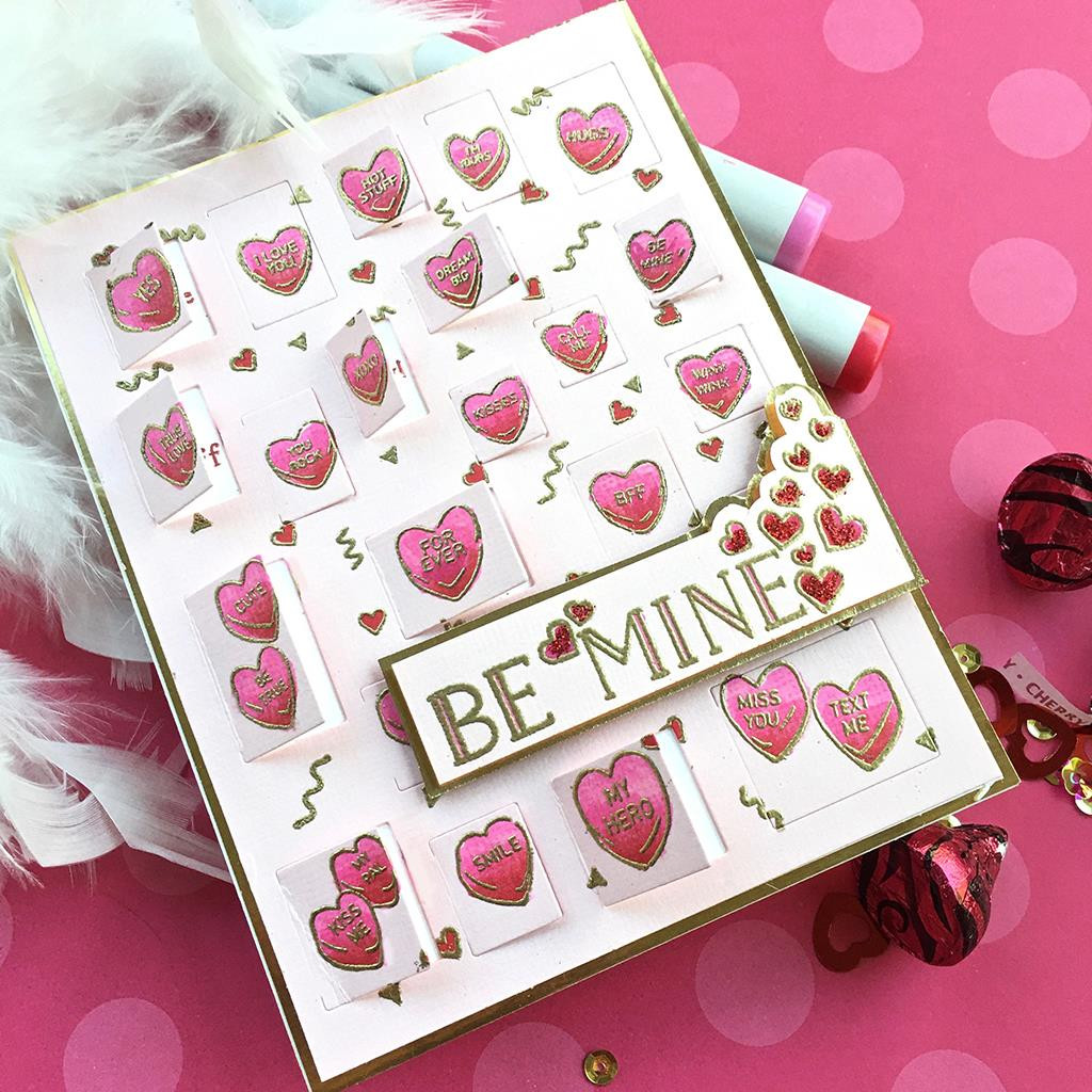 Candy Hearts Peek-A-Boo, Hero Arts Cling Stamps - 085700926119
