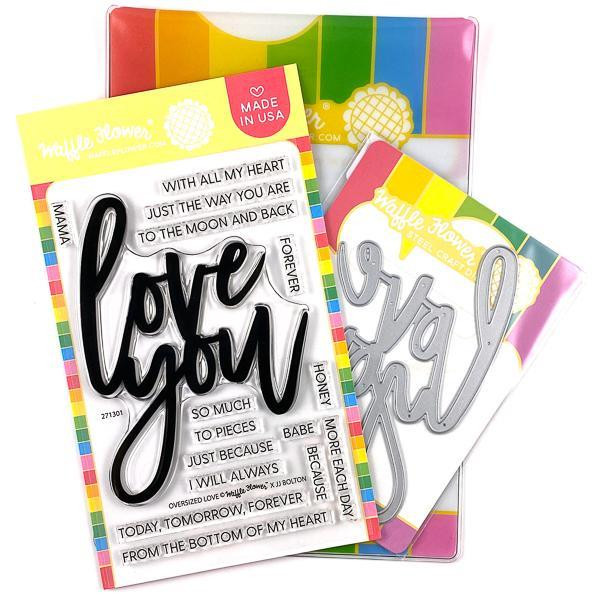 Oversized Love, Waffle Flower Stamp & Die Combo - 644216788491