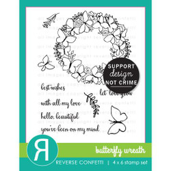 Butterfly Wreath, Reverse Confetti Clear Stamps -