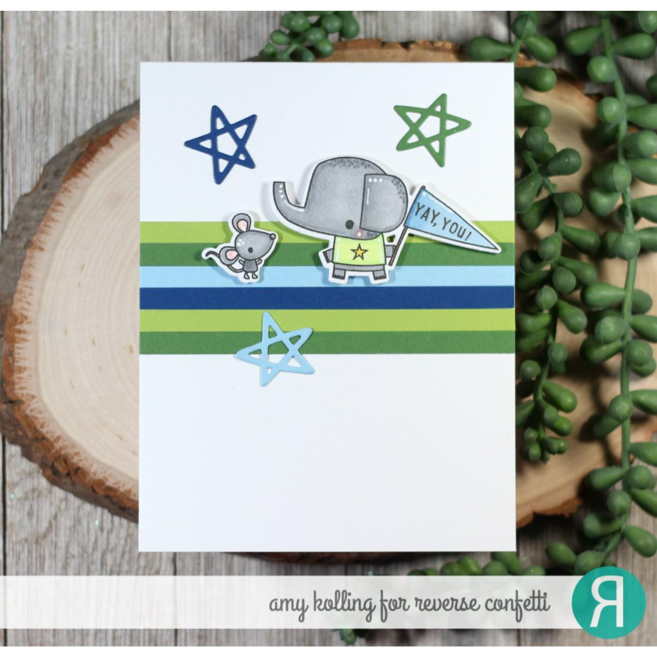Cheerful Pals, Reverse Confetti Clear Stamps -