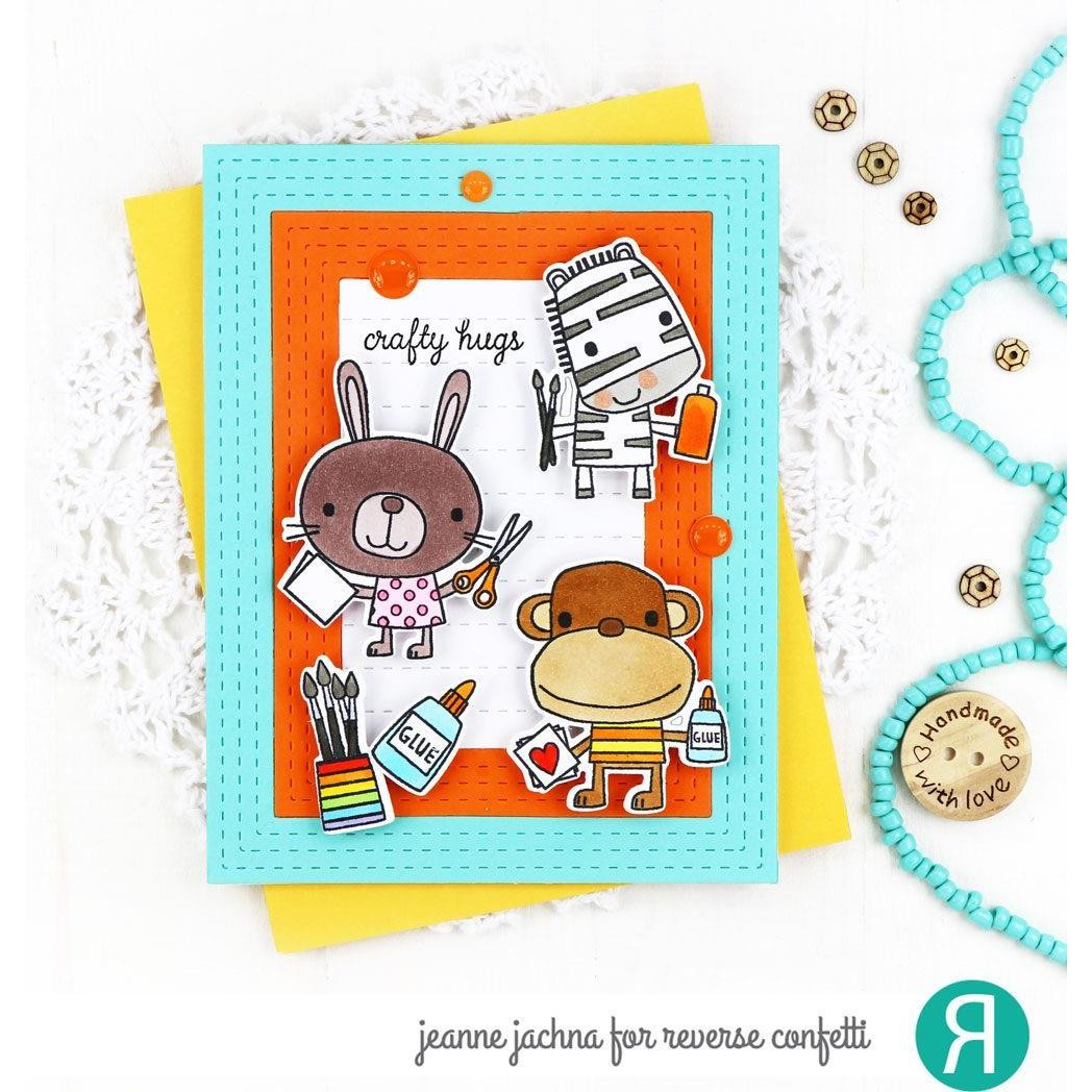 Crafty Critters, Reverse Confetti Clear Stamps -