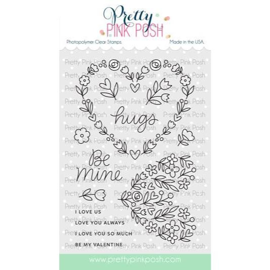 Large Floral Hearts, Pretty Pink Posh Clear Stamps -
