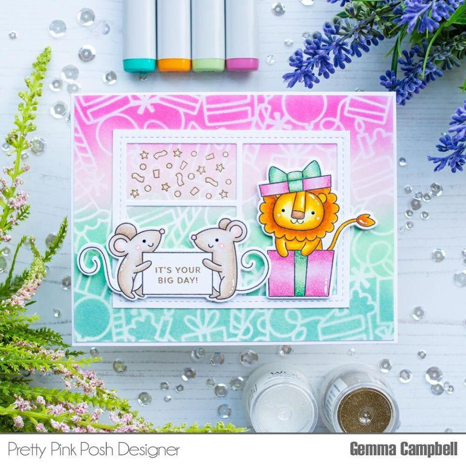 Party Friends, Pretty Pink Posh Clear Stamps -
