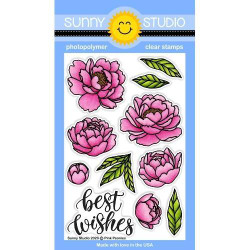 Pink Peonies, Sunny Studio Clear Stamps - 797648687839
