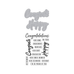 Congrats Happy, Hero Arts Stamp & Cut - 085700924764