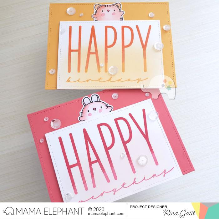 Happy Chic Wishes, Mama Elephant Clear Stamps -